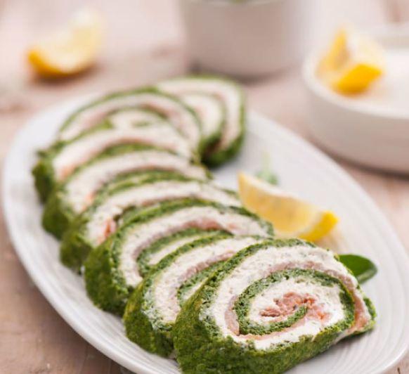 Rollo de espinacas con salmón - Bajo en Calorías con Thermomix®