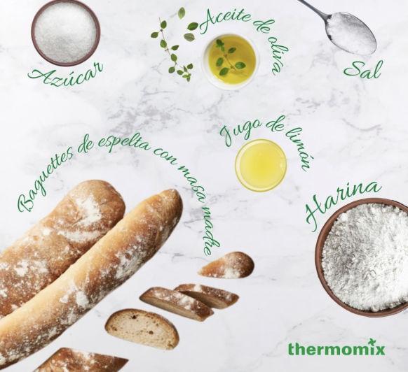 Baguettes de espelta con masa madre (fermento natural)