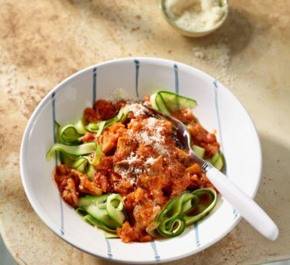 Boloñesa de setas, zanahoria y apio - Receta saludable con Thermomix®